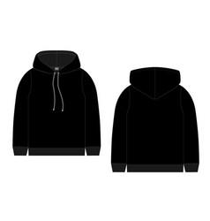 Technical sketch for men black hoodie mockup vector