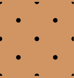Tile pattern with black polka dots on brown vector
