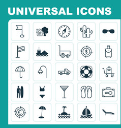 Tourism icons set collection of pin trip handbag vector