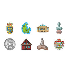 Traveling in denmark icons in set collection for vector