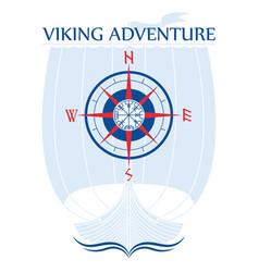 Warship of the vikings drakkar in a circle of vector