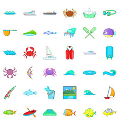 water fish icons set cartoon style vector image