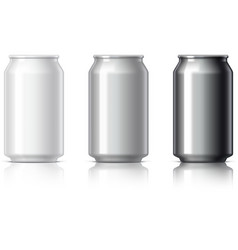white black and gray aluminum cans vector image