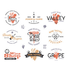 wine logos labels set winery wine shop vector image
