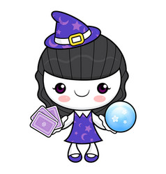 Witch character tirer les cartes halloween day vector