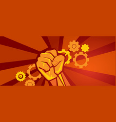 worker on strike demonstration gears cogs and hand vector image