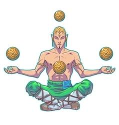yoga man in a lotus position vector image