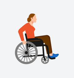 Young disabled woman sitting in wheelchair on vector