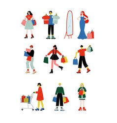 Young women and men carrying shopping bags with vector