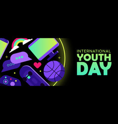 youth day web banner of fun teen hobby icons vector image