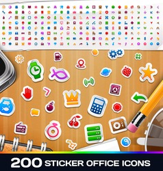 200 Sticker Universal Icons Set 2 vector image vector image