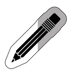 black figure pencil icon stock vector image