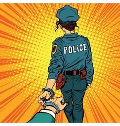 Follow me a woman police officer is arrested by vector image vector image