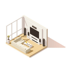 isometric low poly living room icon vector image vector image