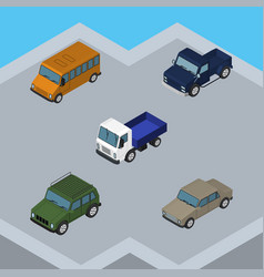 Isometric transport set of auto lorry autobus vector