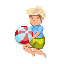small boy playing with a ball vector image vector image