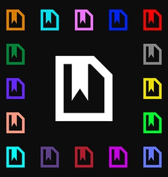 bookmark icon sign Lots of colorful symbols for vector image vector image