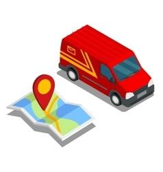 Delivery isometric 3d van car truck map cargo vector image