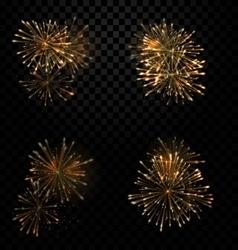 Festive Set Fireworks Salute on Transparent vector image vector image