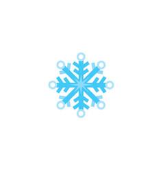 flat cartoon snowflake winter christmas symbol vector image