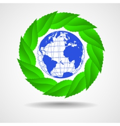 green eco background globe with leaves vector image vector image