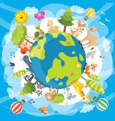 of world animals vector image vector image