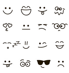 set of emotional hand drawn faces vector image