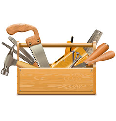 toolbox with retro instruments vector image vector image