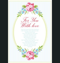 Card template with garden pink roses vector image vector image