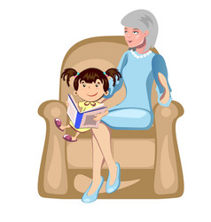 girl with their grandmother vector image vector image