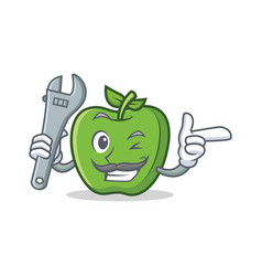 mechanic green apple character cartoon vector image