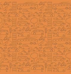 Seamless drawn transport pattern vector