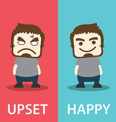 Upset and happy vector