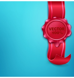 Wax seal with a ribbon on a blue background vector