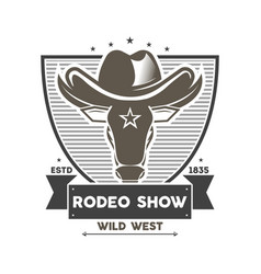 Wild west rodeo show isolated label vector