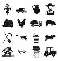 Farm black simple icons set vector image vector image