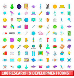 100 development icons set cartoon style vector