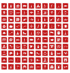 100 wine icons set grunge red vector image