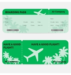 Airline boarding pass Green ticket isolated on vector