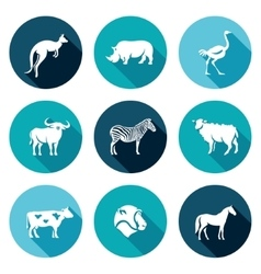 Animals of the Australian continent icons set vector