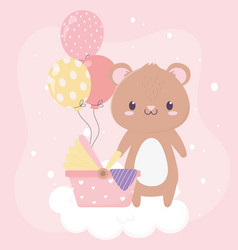 bashower teddy bear pram balloons card cartoon vector image