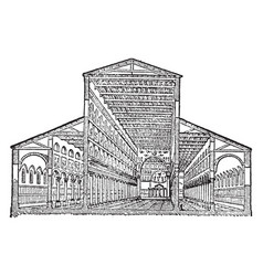 Basilica of old st peter sectional view of the vector