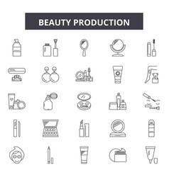 beauty production line icons signs set vector image