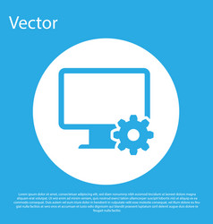 blue computer monitor and gear icon isolated on vector image