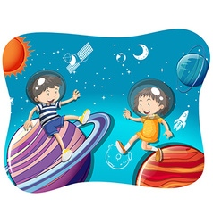 Boy and girl floating in the space vector image