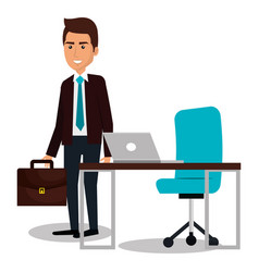 businessman avatar in the office icon vector image