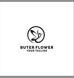 Butterfly flower logo design template idea vector