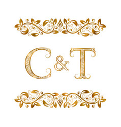 C and t vintage initials logo symbol letters vector