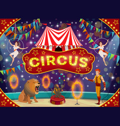 Circus animal trainer and acrobats carnival show vector