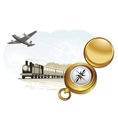 Compass train and plane vector